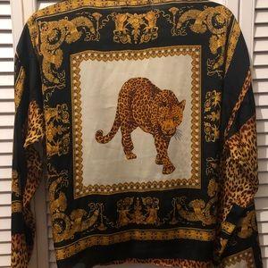 Silk self front-tie leopard pattern blouse
